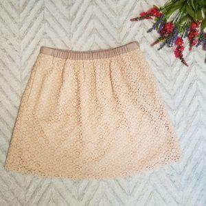 J. Crew Blush Lace Skirt